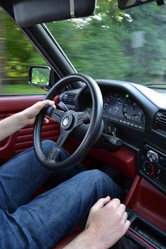 e30 steering wheel + red leather interior