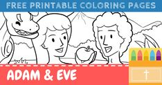 Free Printable Adam and Eve Coloring Pages for Kids Free Printable Coloring Pages, Coloring Pages For Kids, Free Printables, Religious Education, Adam And Eve, Animated Gif, Bible Verses, Preschool, Crafty