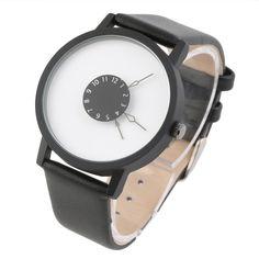 Mini Unique Rotation Dial Scale Design Unisex Watches Steel Strap Analog Quartz Wrist Watch