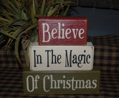 BELIEVE In The Magic Of CHRISTMAS Wood Sign by SimpleBlockSayings, $24.95