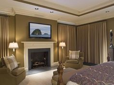 pinterest; crown molding and ceiling paint | For the Home / Bedroom, crown Molding, coffered ceiling, tray ceiling