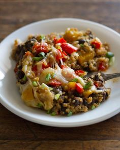Southwestern Black Bean Quinoa Casserole - just 250 calories per serving.