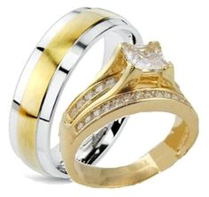14k Yellow Gold Overlay His & Hers 3 Piece Engagement Wedding Ring Set (Womens 5-9) (Mens 6-13) Whole & Half Sizes. Email Your Sizes to Us After You Purchase.: Jewelry