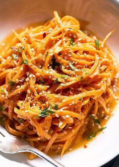 Garlic Butter Sweet Potato Noodles Recipe — These sweet potato noodles are so easy and a fun way to eat more vegetables. Garlicky sweet potato noodles take the place of traditional pasta in this healthy recipe, for a more filling and nutriti… Sweet Potato Spiralizer Recipes, Healthy Noodle Recipes, Sweet Potato Recipes Healthy, Zoodle Recipes, Pasta Recipes, Vegetarian Recipes, Cooking Recipes, Sweet Potato Butter Recipe, Veggetti Recipes