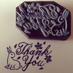 """Hand carved stamp  """"Thank you"""""""