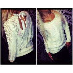 Long Sleeves Backless Bow-tie Decorated White Blending Regular Pullover Knitting Sweater
