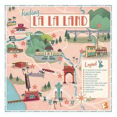 This Retro Map Showcases The L.A. Landmarks Of 'La La Land' La La Land Art, Los Angeles Map, Ryan Gosling, La La Land Movie Quotes, Lala Land Quotes, Trailers, Movies Showing, Movies And Tv Shows, Broadway