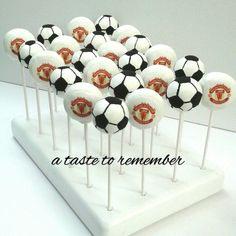 Manchester United soccer team cake pops with edible images.