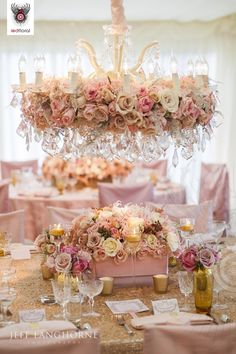 floral chandelier to match the floral centerpieces