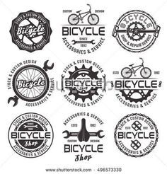 Set of vintage and modern bicycle shop logo badges and