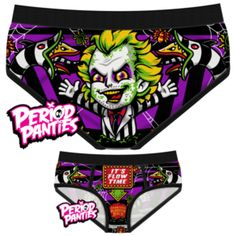 Flow Time Briefs (Beetlejuice) Sometimes it feels like your body is trying to exorcise a demon. Panties are 95% cotton & 5% elastane. Made in China.