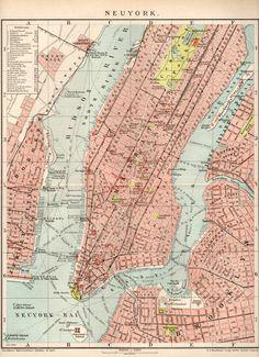 1898, New York Map, Vintage Lithograph.