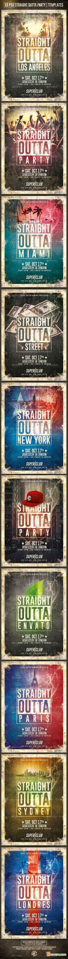 Graphicriver 10 Flyers Straight Outta Party Psd Templates 12690897