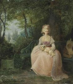 Jean-Frederic Schall - A lady seated with her pet spaniel in a park