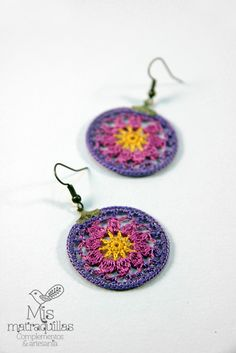 Mucho más en https://www.facebook.com/MisMatraquillas/   Pendientes de ganchillo - Crochet earrings   #pendientes #earrings #ganchillo #crochet #mujer #mandala #artesania #handmade #complementos #moda