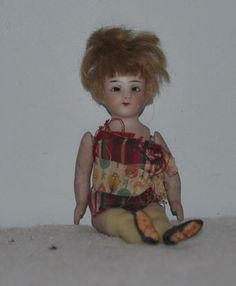 Antique Doll Miniature All Bisque Thigh High Yellow Stockings Dollhouse Bruno…