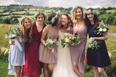 Mismatched Bridesmaid Dresses Flower Crowns Bouquets Flowers Boho Outdoor Countryside Fair Wedding http://www.jennawoodward.com/