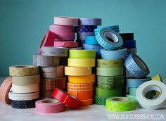 ".:* L - From Bits & Bobs: ""If you have yet to hear of Japanese washi tape, let me welcome you to a wonderful world of beautiful and creative tape crafts. Washi tape is a multi-purpose adhesive tape (similar to masking tape) and can be used in all kinds of craft projects for decorations. I have found washi tape on save the date cards, bunting and garland, cupcake flags, guest books, vases, drink straws and the list goes on.""] See link for vendors"