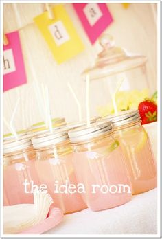Too easy with old jars and spray paint lids or buy some already that has that brushed nickel look to them-poke a hole in lid for the straw-with a hammer and nail and i love this!!