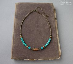 Short turquoise necklace Boho necklace Bohemian jewelry Short