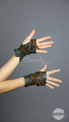 Green Fingerless Leather Gloves, Short / Steampunk Mad Max LARP Khaleesi Daenerys Tribal Belly Dance