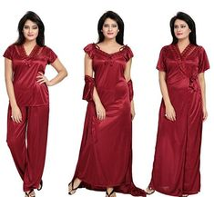 Noty™ Women's Satin Nighty - 4 Pc Set- Nighty/Robe/Top/Bottoms  Material- Soft and Fine Quality Satin with lace and Net Work Color/Size/Fit- Maroon Color and Free Size with cozy and comfortable feel and fit