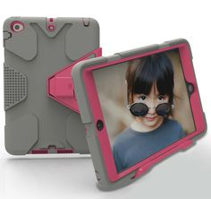 iPad Mini 3 Case,iPad Mini 2 Case,ARMORCOO(TM) Shock Absorption Three Layer Hybrid Full Body Protective Armor Case Cover with Removable Kickstand for Apple iPad Mini 1/2/3 (Gray Hot Pink) >>> Details can be found by clicking on the image.