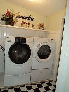 after picture of a mobile home laundry room. Appliance paint, wall paint and flooring. What a difference!