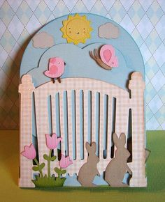 Cricut Tri-fold Easter Card. Front View.  Used Easter 2010, Freshly Picked and Create a Critter  Cartridges.