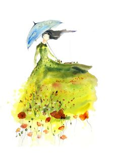 Lady of the Glade - Art Print blue umbrella girl spirit woman bedroom wall red poppies farm green watercolor landscape Oladesign 8x10