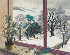 soircharmant: Stanley Roy Badmin (British, 1906-1989), Trees And Shrubs, January. Ink, gouache and watercolour, 35.5 x 44.5 cm.; 14 x 17.5 in.