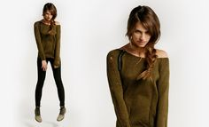 The zipper makes this sweater. #sweater #clothing #green