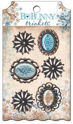 Bo Bunny Press - Snowfall Collection - Metal Embellishments - Trinkets at Scrapbook.com $4.99