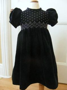 Smocked velveteen dress with pearls