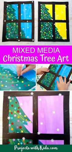 Kids will love creating this beautiful Christmas tree art project using a mixed media approach. Fun and easy techniques make this a wonderful Christmas craft activity! #projectswithkids #christmascrafts #kidsart...