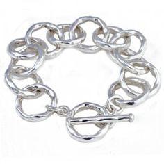 Chunky Silver Hammered Link Bracelet - Handpicked