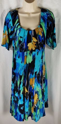 London Times Dress Size 14W Blue Black Green Floral Short Sleeve Stretch A Line #LondonTimes #Shift #Casual
