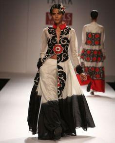 Black & White Suit with Applique Motif