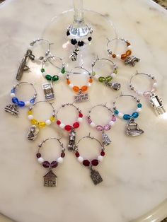 Monopoly Themed Wine Charms with Pouch Set of 14