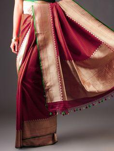Red-Green Banarasi Silk Zari Handwoven Saree By Ekaya