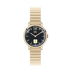 Orla Kiely: This striking time piece combines cool Sixties style with a modern edge. With polished pale  bracelet and matching polished Hamilton gold case. Features a navy sunray dial with our signature stem print, and the analogue dial features a sub second hand. With deployment clasp fastening. Water resistant. 2 years manufacturer's warranty.