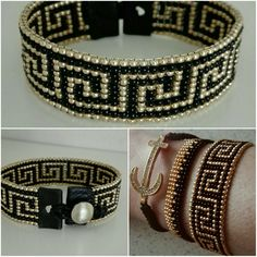Bead loom Bracelet-Golden black Greek pattern by VAT