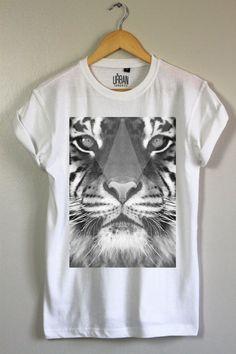 57e18ae9afba Greyscale Tiger Tee - UK Fashion Hipster Indie T-Shirt Design T Shirt, Shirt