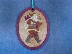 Wood Inlay Christmas Ornament - Santa by EzMarquetry on Etsy