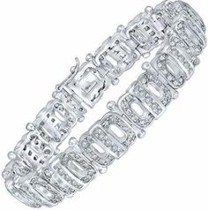 Sterling Manufacturers Men's Sterling Silver Bracelet with Cubic Zirconia (CZ) Stones and Box Lock, Platinum Plated Bracelets For Men, Silver Bracelets, Silver Jewelry, White Gold, Sterling Silver, Cz Stones, Handmade, Jewellery, Box