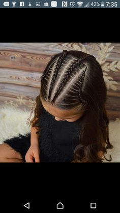 Cornrows, lace braids, and soft curls on this Sunday morning. Lil Girl Hairstyles, Trendy Hairstyles, Braided Hairstyles, Hairstyles Videos, Kids Hairstyle, Hairstyles 2016, Braided Updo, Wedding Hairstyles, Teenage Hairstyles