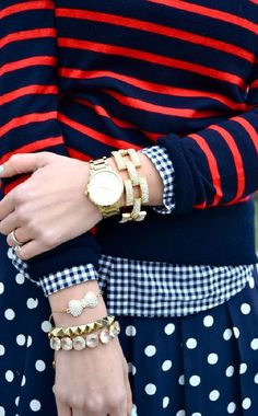 Red and Navy Horizontal Striped Crew-neck Sweater — Gold Bracelet — Gold Watch — Navy and White Gingham Dress Shirt — Navy and White Polka Dot Skater Skirt Estilo Preppy, Estilo Retro, Mélanger Les Impressions, Mode Bcbg, Paris Mode, Mein Style, Pattern Mixing, Mixing Prints, Preppy Style