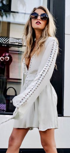 #spring #outfits Festival Feelings & White Boho Dress
