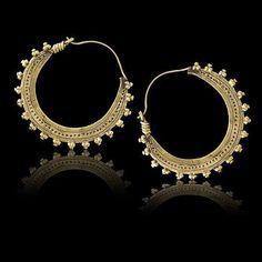 Tribal jewellery Tribu Brass earrings Indian hoops by Tribulondon