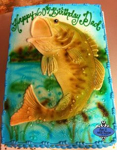 Sculpted Fish Birthday Cake for a 60th birthday party as the boys past time is fishing! Description from pinterest.com. I searched for this on bing.com/images